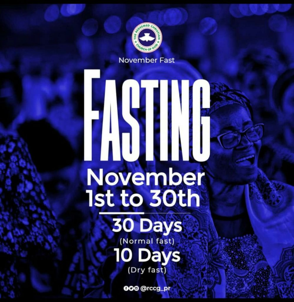 RCCG November 2019 30 Days Fasting Prayer Points Day 8